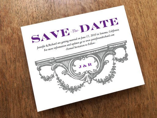 Gray and plum save the date printable