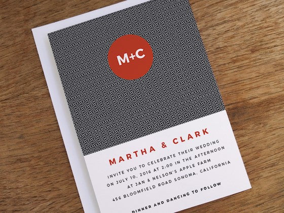 black, red and white wedding invite design