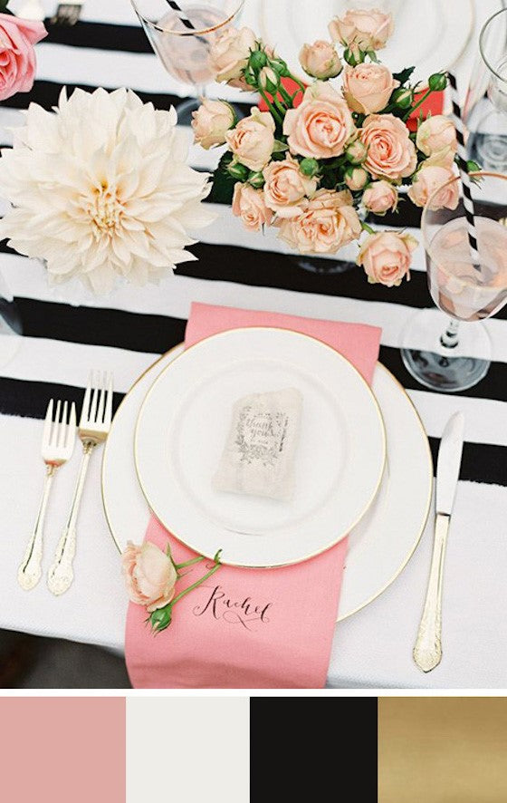 pink, black and white wedding table setting
