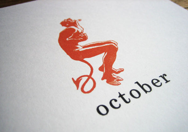 Printable Calendar - Simple Woodcuts - OCtober