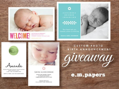 Birth Announcement Giveaway at e.m.papers