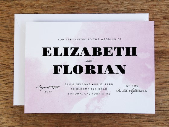 pink watercolor wedding invitation design