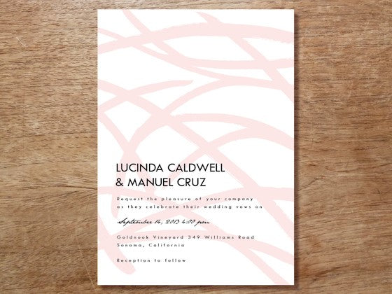 pink brush strokes wedding invite template design