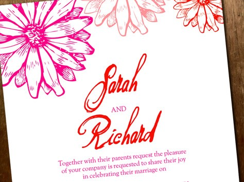 hot pink and red wedding invitation template