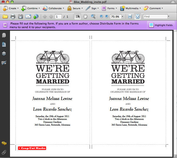Adding text to a printable wedding invitation
