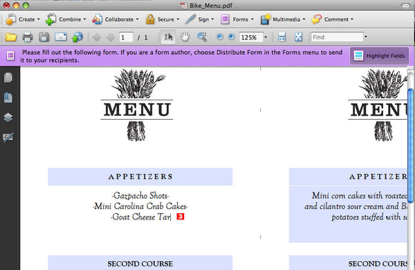 Making a printable menu