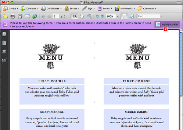 How to make a printable wedding menu