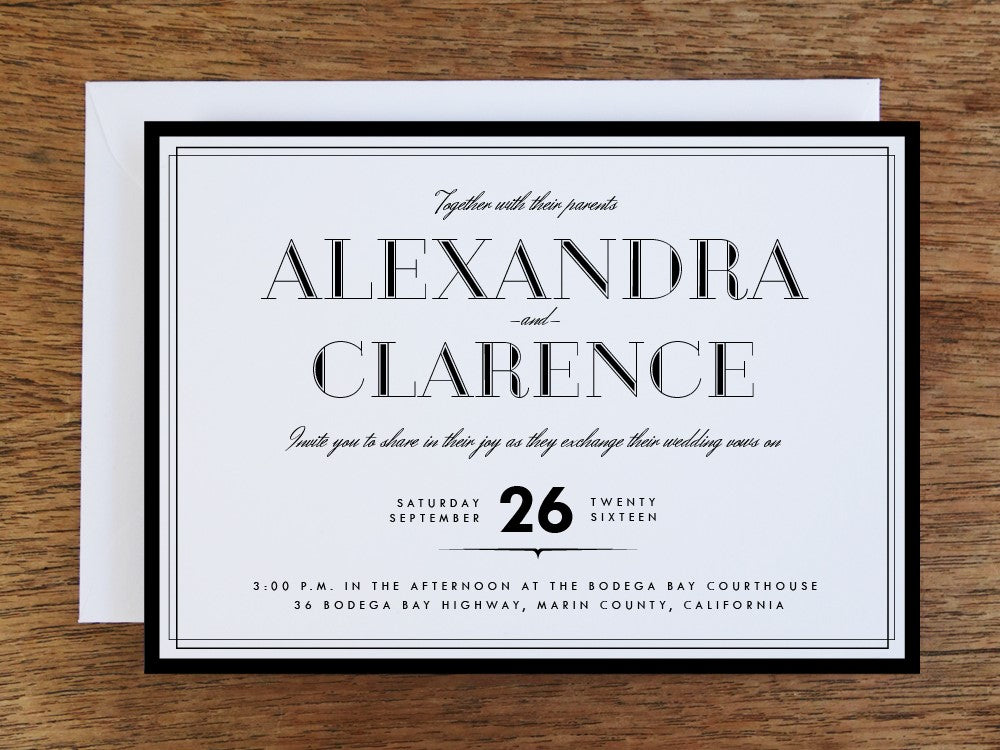 A black and white printable wedding invitation template. Featuring 1920s style type and a black frame border.