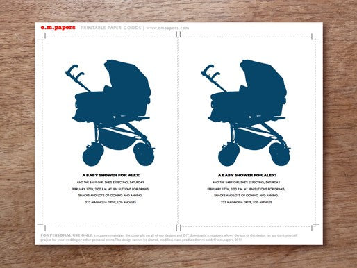 navy blue stroller baby shower invitation template