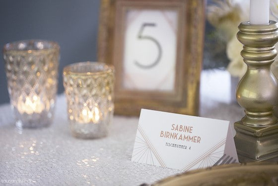1920s Art Deco Great Gatsby inspired wedding escort card and table number