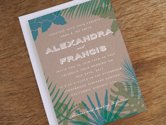 tropical wedding invitation design