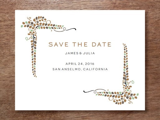 Save the Date Template - Vine design for a fall or autumn wedding