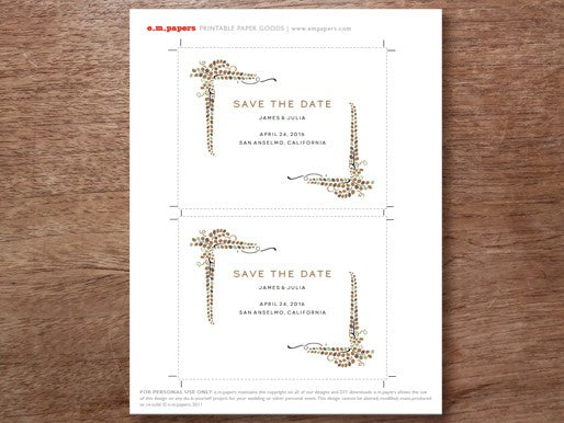 Printable save the date card