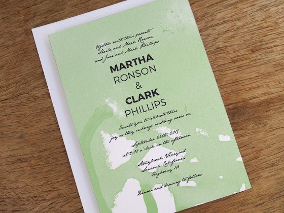 mint watercolor invite