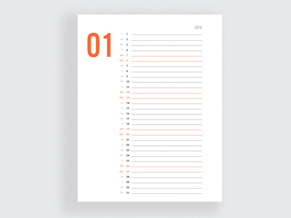 Printable Minimalist Calendar - Red and Black - e.m.papers