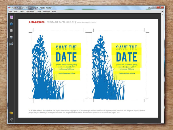 Printable Wedding Save the Date - Bluebell