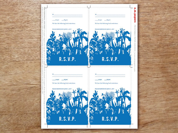 Printable Wedding RSVP Card - Bluebell