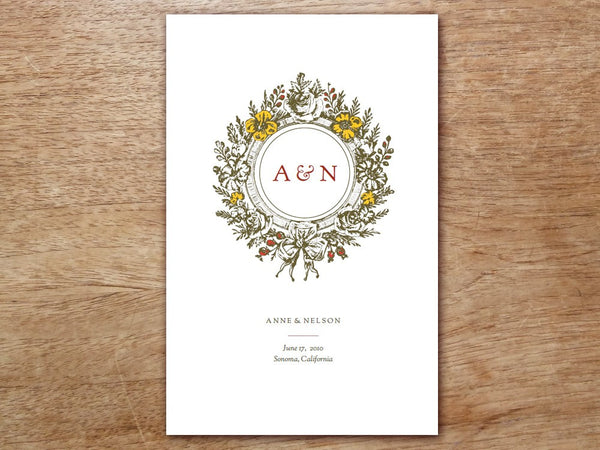 Printable Wedding Program - Monogram
