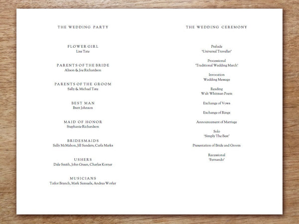 Printable Wedding Program - Kate and Wills