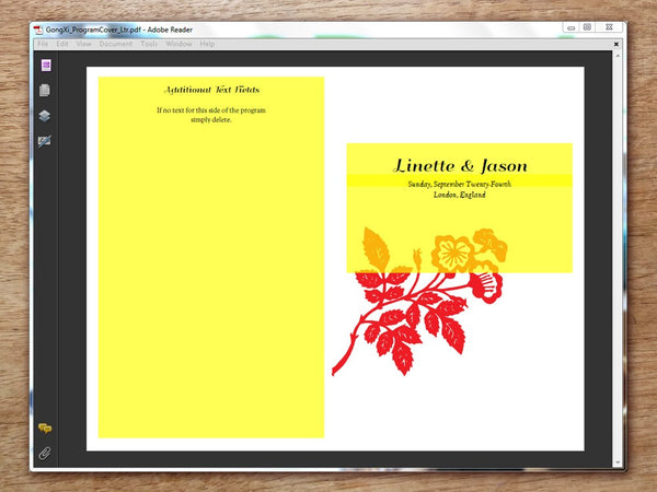 Printable Wedding Program - Gong Xi