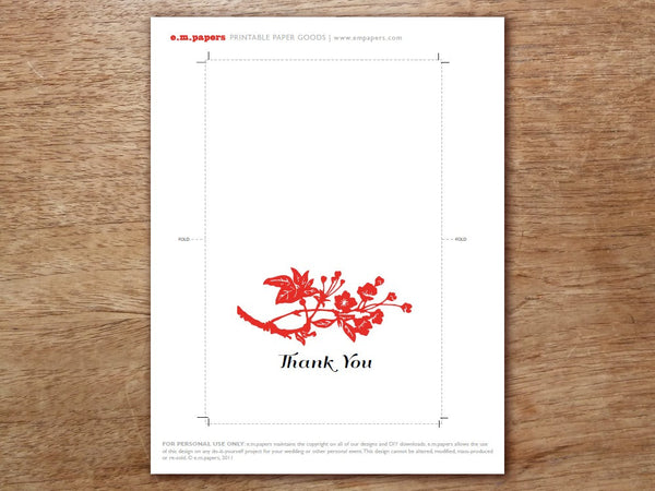 Printable Thank You Card - Gong Xi