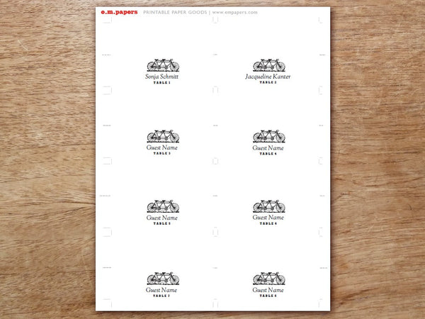 Printable Place Card - Tandem