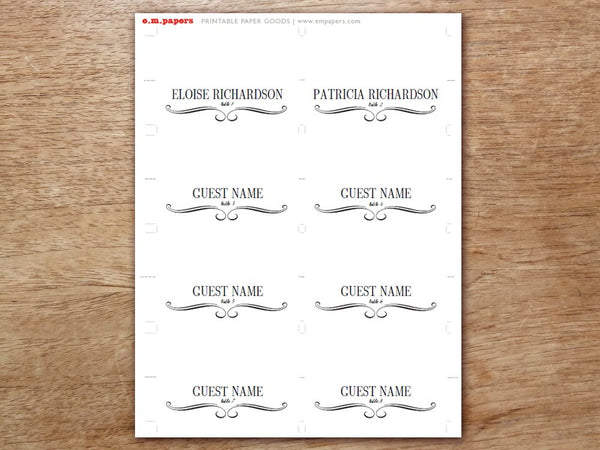 Printable Place Card - Flourish