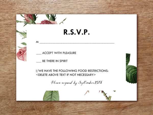 Printable Wedding RSVP Card - Vintage Roses