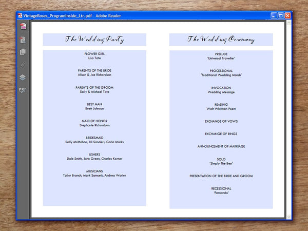 Printable Wedding Program - Vintage Roses
