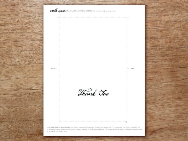 Printable Thank You Card - Calligraphy Monogram