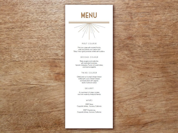 Printable Wedding Menu - Art Deco - Great Gatsby