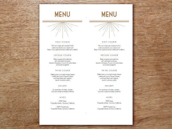Printable Menu - Deco