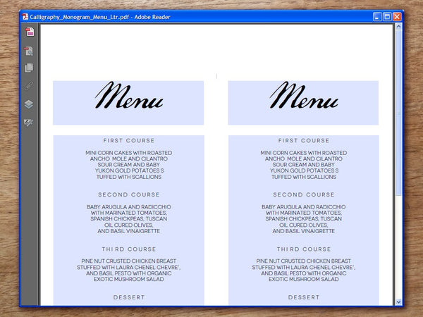 Printable Wedding Menu - Calligraphy Monogram