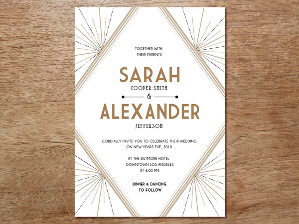 Printable Wedding Invitation - Art Deco - Great Gatsby