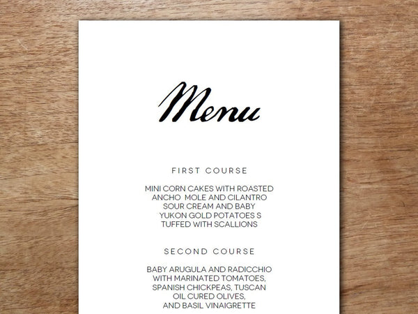 Printable Menu - Calligraphy Monogram