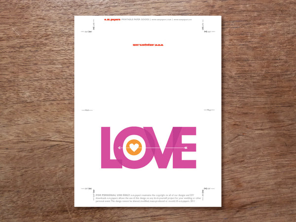 Printable Valentine Card - Pink Love Type