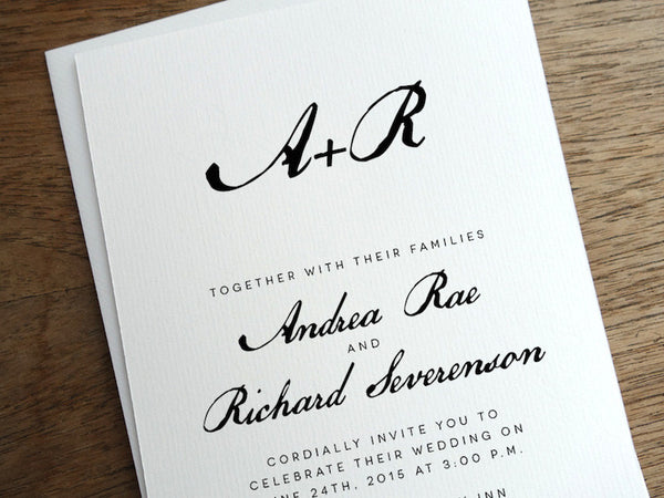 Printable Wedding Invitation - Calligraphy Monogram