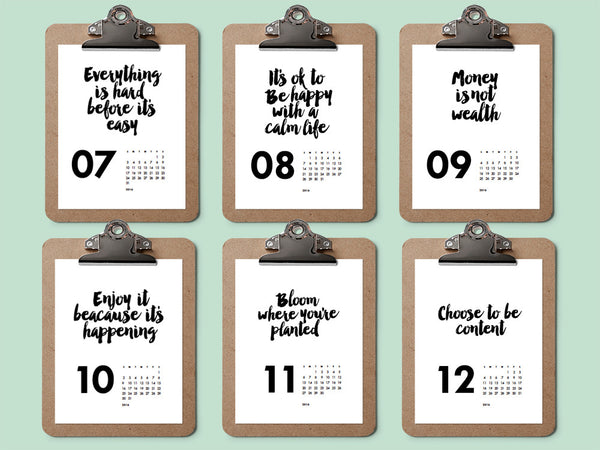 Printable Calendar Black and White Quotes