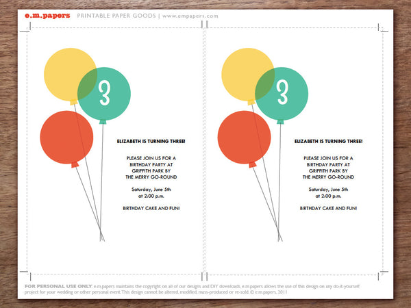 Printable Kids Birthday Party Invitation - Balloons