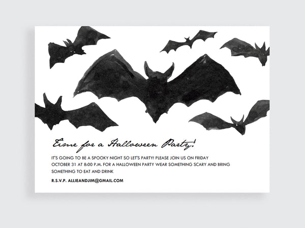 Printable Halloween Invitation - Hand Painted Black Bats - e.m.papers