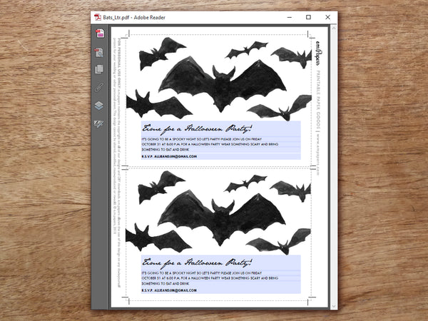 Printable PDF Halloween Invitation Template -  Black Bats - e.m.papers
