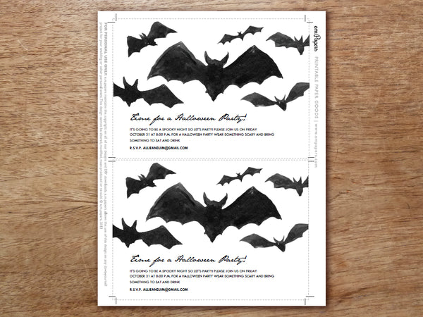 Printable Halloween Invitation - Bats - e.m.papers