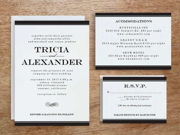 Printable Wedding Invitation Set - Black Stripe