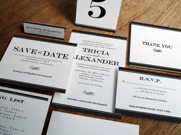 Printable Wedding Invitation Kit - Black Stripe