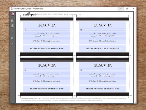 Printable Wedding RSVP Template - Black Stripe
