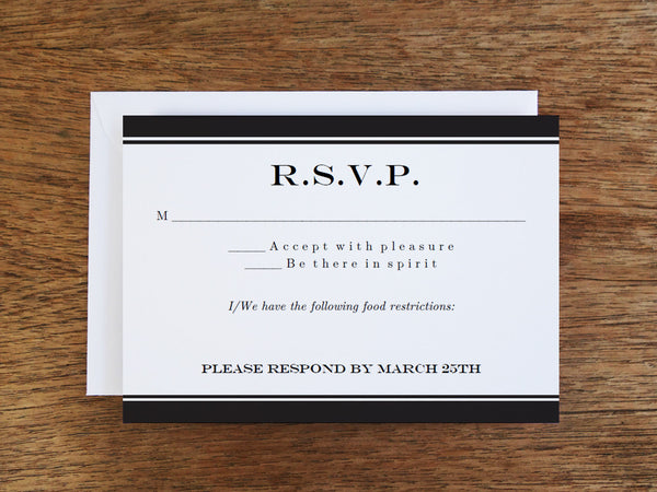 Printable Wedding RSVP Card - Black Stripe
