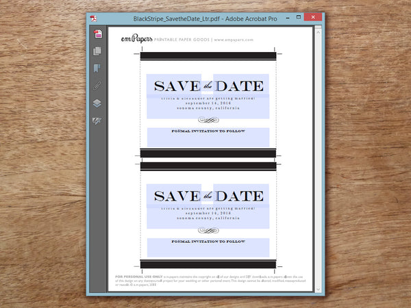 Printable Save the Date Template - Black Stripe