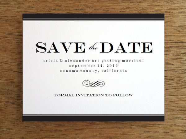 Printable Wedding Save the Date - Black Stripe