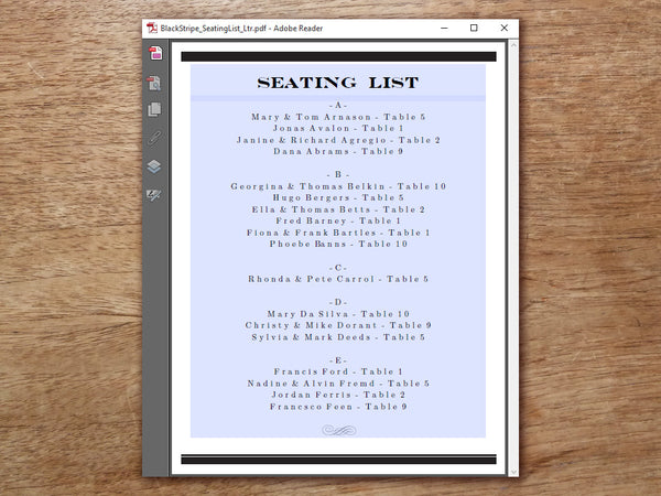 Printable Wedding Seating List - Black Stripe