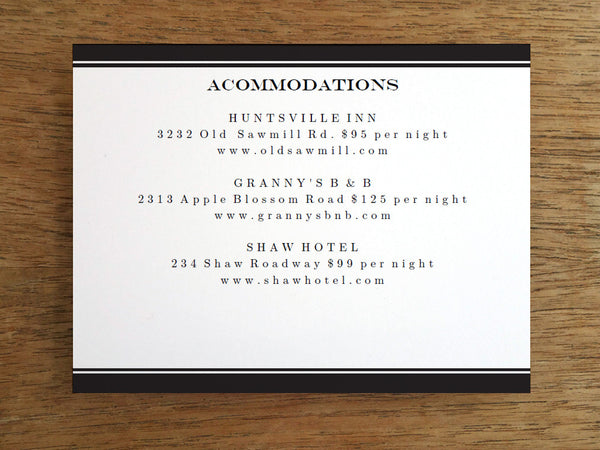 Printable Wedding Information Card - Black Stripe